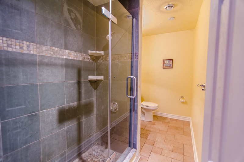 One of the four bathrooms in the 106 Birchview Chalet that is available for rent from Stay at Blue Mountain