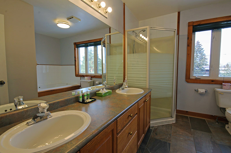 Stay at Blue Mountain offers 4 piece elegant bathrooms such as the one pictured here from the chalet located at Summit Ridge 5
