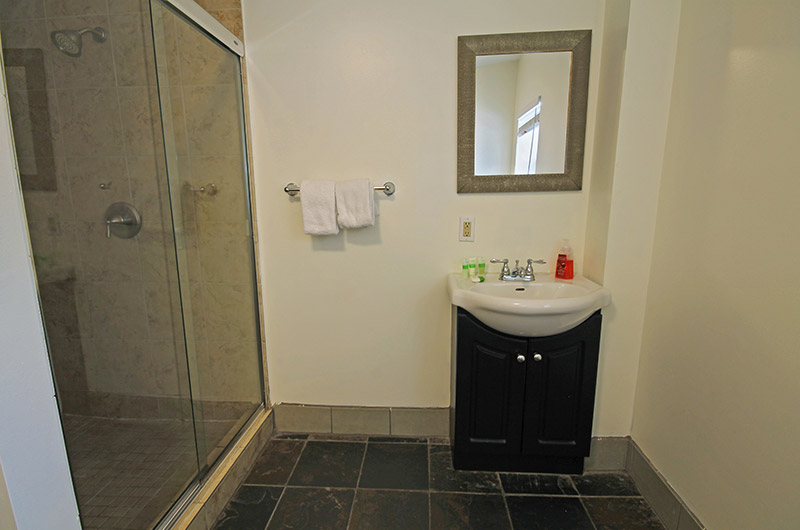 This three-piece bathroom is from a Stay at Blue Mountain ski chalet located at Mountain View 2