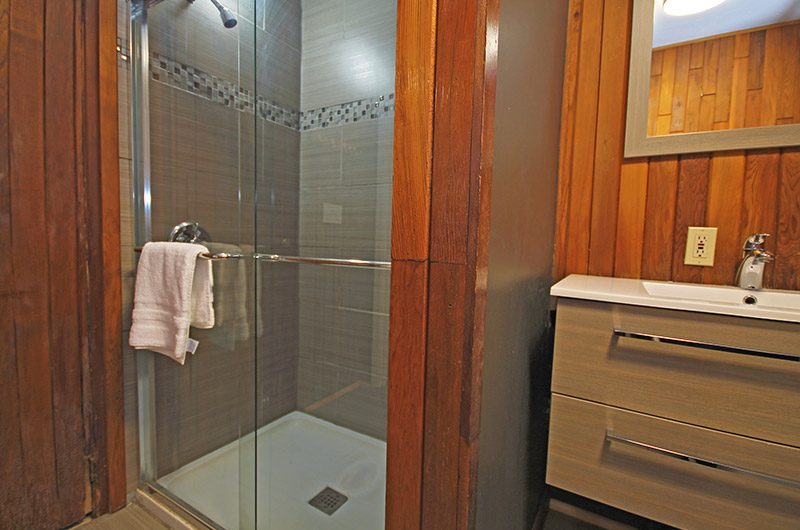 Stay at Blue Mountain offers impressive chalet bathrooms such as the one pictured here with a large shower at 128 Birchview