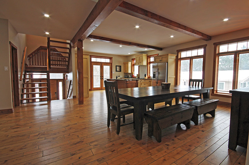 This Stay at Blue Mountain chalet offers a very spacious dining area with natural light - located at 109 Plater St